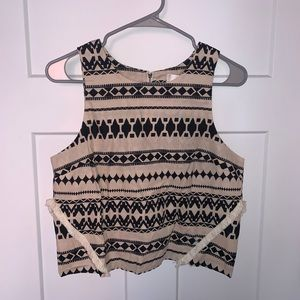 JOA Cropped Top Pattern Zipper Detail NWT